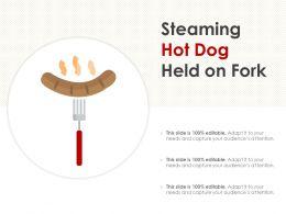 Steaming Hot Dog Held On Fork