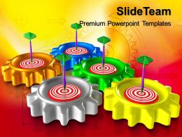 Steel Gear Powerpoint Templates Gears Target Business Ppt Slides