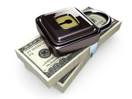Steel Lock On Dollar Bundle Stock Photo