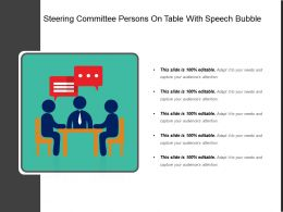 Steering Committee Persons On Table With Speech Bubble