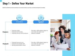 Step 1 Define Your Market Product Ppt Powerpoint Presentation File Grid