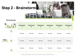 Step 2 Brainstorm Idea Paticipant Ppt Powerpoint Presentation Professional Shapes