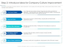 Step 2 Introduce Ideas For Company Culture Improvement Improving Workplace Culture Ppt Professional