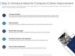 Step 2 Introduce Ideas For Company Culture Improvement Leaders Guide To Corporate Culture Ppt Icon