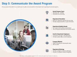 Step 5 Communicate The Award Program Meetings Ppt Powerpoint Presentation Professional Mockup