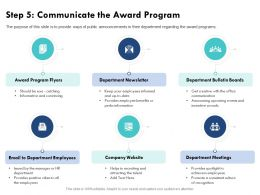 Step 5 Communicate The Award Program Perks Information Ppt Powerpoint Presentation Pictures Good
