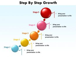 step by step growth shown by bullet points made of circles going upwards powerpoint templates 0712
