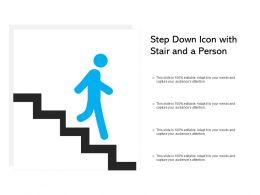 Step Down Icon With Stair And A Person