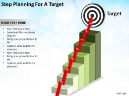 step planning for a target stairs leading to bullseye with arrow snaking powerpoint diagram templates graphics 712