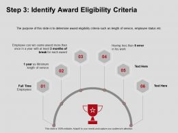 Step Three Identify Award Eligibility Criteria Employees Ppt Powerpoint Presentation Model