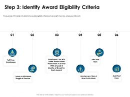Step Three Identify Award Eligibility Criteria Length Ppt Powerpoint Presentation Visuals