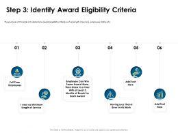 Step Three Identify Award Eligibility Criteria Length Ppt Powerpoint Presentation Visuals