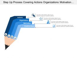 Step Up Process Covering Actions Organizations Motivation And Creative Ideas
