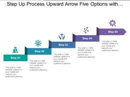 Step Up Process Upward Arrow Five Options With Titles