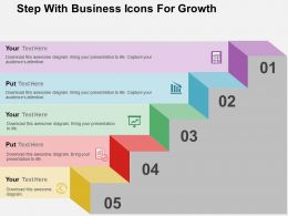 Step With Business Icons For Growth Flat Powerpoint Design