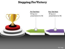 stepping for victory arrows leading to a trophy with winning golden cup powerpoint diagram templates 712