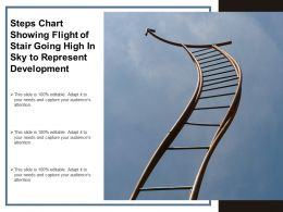 Steps Chart Showing Flight Of Stair Going High In Sky To Represent Development