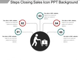 Steps Closing Sales Icon Ppt Background