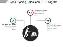 Steps Closing Sales Icon Ppt Diagram