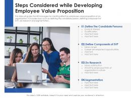 Steps Considered While Developing Employee Value Proposition