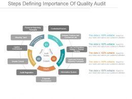 Steps Defining Importance Of Quality Audit Ppt Presentation