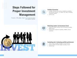 Steps Followed For Proper Investment Management