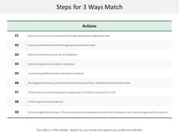Steps For 3 Ways Match