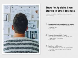 Steps For Applying Lean Startup To Small Business