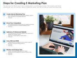 Steps For Creating E Marketing Plan