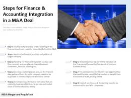 Steps For Finance And Accounting Integration In A M And A Deal