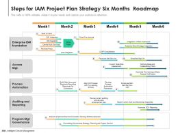 Steps For IAM Project Plan Strategy Six Months Roadmap