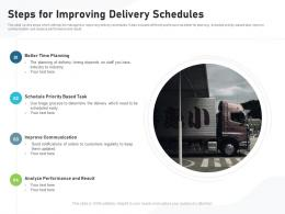 Steps For Improving Delivery Schedules