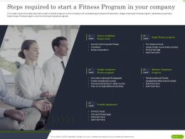 Steps Required To Start A Fitness Program In Your Company Ppt Powerpoint Grid