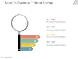 Steps To Business Problem Solving Powerpoint Slide Show