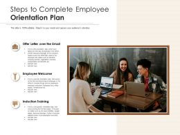 Steps To Complete Employee Orientation Plan