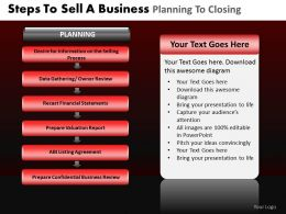 Steps To Sell a Business Planning To Closing Powerpoint Slides And Ppt Templates DB