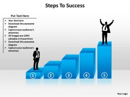 steps to success with business man silhouette climbing stairs to top powerpoint diagram templates graphics 712