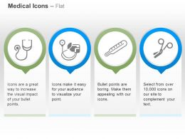Stethoscope Thermometer Scissor Blood Pressure Test Ppt Icons Graphics