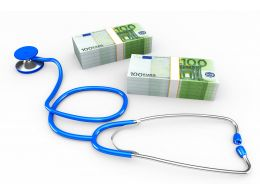 Stethoscope With Dollars For Finance And Health Topics Stock Photo