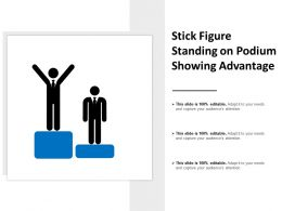 Stick Figure Standing On Podium Showing Advantage