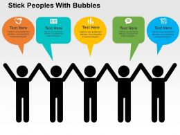 Stick Peoples With Bubbles Flat Powerpoint Design