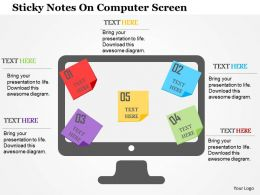 Sticky Notes On Computer Screen Flat Powerpoint Design