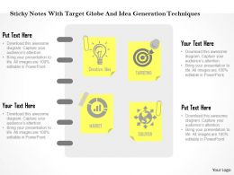 Sticky Notes With Target Globe And Idea Generation Techniques Flat Powerpoint Design
