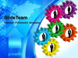 Stock Gear Powerpoint Templates Business Growth Global Teamwork Ppt Layouts