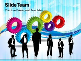 Stock Gear Powerpoint Templates Business Team With Gearswheels Teamwork Ppt Slides