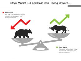 Stock Market Bull And Bear Icon Having Upward And Downward Arrow