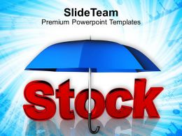 stock word under blue umbrella powerpoint templates ppt themes and graphics 0213