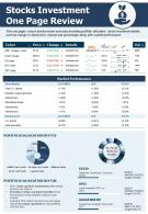 Stocks Investment One Page Review Presentation Report Infographic PPT PDF Document