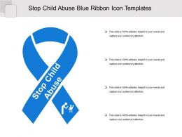 Stop Child Abuse Blue Ribbon Icon Templates