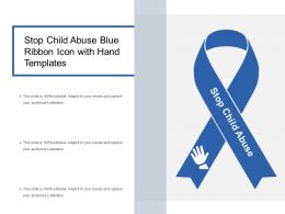 Stop Child Abuse Blue Ribbon Icon With Hand Templates